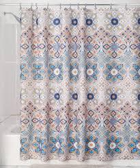 tan clover medallion shower curtain