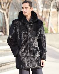jason black rabbit fur over coat with hood for men