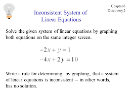 solve the given system of linear equations by graphing both equations on the same integer screen