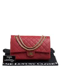 chanel red quilted leather reissue 2 55 classic 226 flap bag lyst