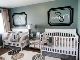 kids baby room wall decor white stain wooden twin cribs cabinet cute toys and dolls