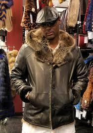 mens black leather hooded jacket fur lined fur trim dlnyc collection