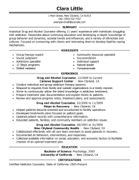 counseling resume sample