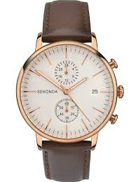sekondamens rose gold plated leather strap watch 1381