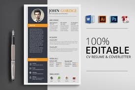 2 Pages Cv Resume Word Template Vsual