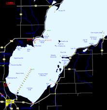 Saginaw Bay Lake Huron Map Ccc County Michigan Fishing