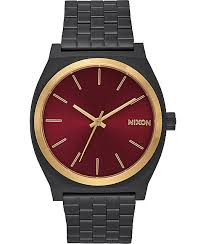 nixon watches get shipping at zumiez bp nixon time teller matte black gold burgundy watch