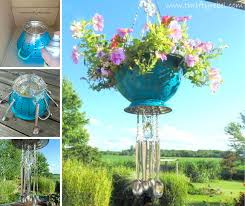 hanging colander flower pots with spoon wind chimes