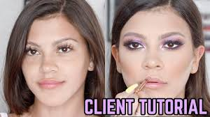 purple client makeup tutorial on tammy hembrows lil sis starlette jasmine hand hair and makeup tutorials