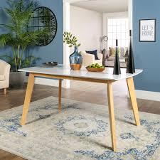 "Walker Edison 60"" Mid-Century <b>Modern Wood Dining Table</b> - White ..."