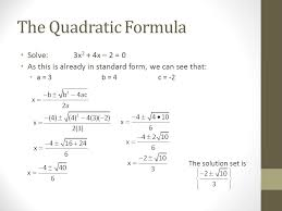 the quadratic formula objective to solve equations