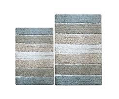 chardin home 100 pure cotton 2 piece cordural stripe bath rug set 24x40 21x34 gray beige with latex spray non skid backing