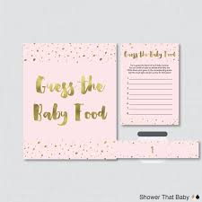 Pink and gold baby shower game guess the baby food activity zoom ptc cofo  Choice Image