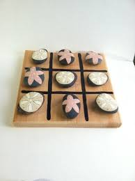 Game With Rocks And Wooden Board Classy SANDDOLLAR STARFISHTic Tac ToeWooden Board GameSpecial Stones