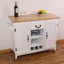 basicwise white large wooden kitchen island trolley with heavy duty rolling casters