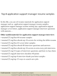 Top8applicationsupportmanagerresumesamples 150521074751 Lva1 App6892 Thumbnail 4 Jpg Cb 1432194491