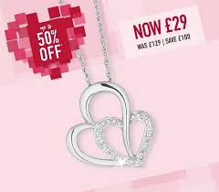 valentines chain silver diamond heart pendant 29 h samuel hotukdeals