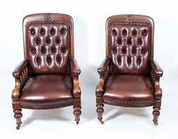 antique pair of english leather armchairs c