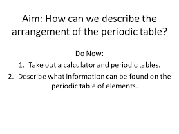 Aim: How can we describe the arrangement of the periodic table? Do ...