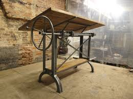 cool antique drafting table with cast iron legs