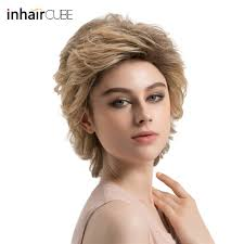 Esin Synthetic Shoulder Length Wig Fluffy Multi Layered Blonde Short