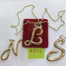 18k able saudi gold necklace w initial pendant women s fashion jewelry on carou