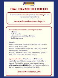 Schedule Conflict Examinations Alexander College