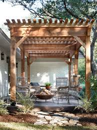 This pergola played an important role in adding to the home's new style.  Building it on the front of the home added an interesting element to the  exterior ...