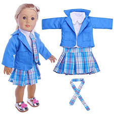 American Doll Size Chart American Girl Doll Clothes Lovely 4pc Student Clothing Pleated Princess Dress For 18 Inch American Girl Doll Costume Uniform Outfit For Doll Blue