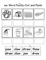 Worksheet for (very) young learners who have just started reading. Aw Word Family Worksheets