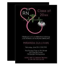 Nursing Graduation Party Invitations Pink Stethoscope Ekg Nursing Graduation Party Invitation