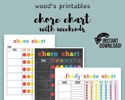 Childrens Chore Chart Pdf Printable Family Chore Chart Kids Chore Chart Home Binder Daily Planner Chore Printable Household Binder