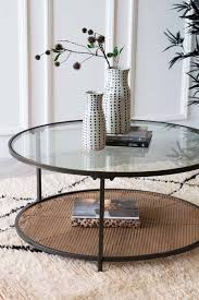 round coffee table with metal rattan