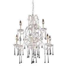 elk lighting 4003 6 3cl 9 light chandelier antique white clear crystal