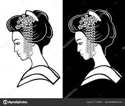 若い日本人の女の子古代髪型の 2 つの肖像画黒と白のオプションです