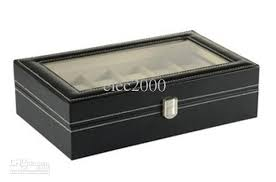 2017 12 black leather mens watch box display case organizer glass 1 watch display case