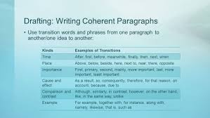 writing effectively pre ap english i adapted from glencoe writer s 7 drafting writing coherent paragraphs use transition