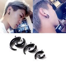 Gothic Women Men Black Acrylic Snail Stud Earrings Ear Piercing