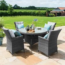 grey round rattan table chairs