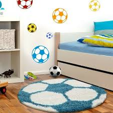details about boys football rug round fluffy white blue kids mat childrens playroom carpet new