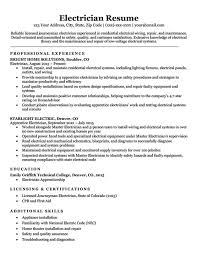 Sample Of Electrician Resumes Electrician Resume Sample Writing Tips Resume Companion