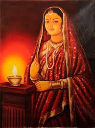 lady with lamp indian paintingsoil paintingspaintings indian