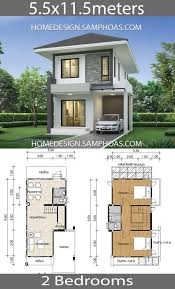 Small House design plans 5.5x11.5m with 2 bedrooms - Home Ideassearch |  Small house design plans, Architectural house plans, Small house design