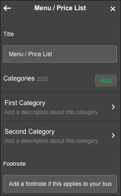 Add Menu Or Price List Godaddy Help Us