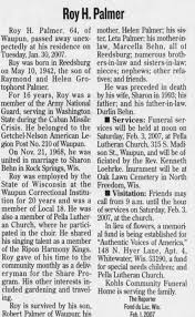 Obituary for Roy H. Palmer, 1942-2007 (Aged 64) - Newspapers.com