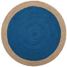 natural fiber royal blue beige 5 ft x 5 ft round area rug