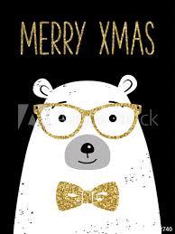 Hipster Christmas Greeting Card With Polar Bear Merry Xmas Black