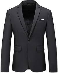 Man's Slim Fit Casual One Button Notched Lapel <b>Turn</b>-<b>Down Collar</b> ...