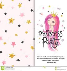 Princess Party Invitation Template For Little Girls Stock