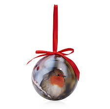 Christmas Baubles B And Q : Photographic robin print bauble departments diy  at b q